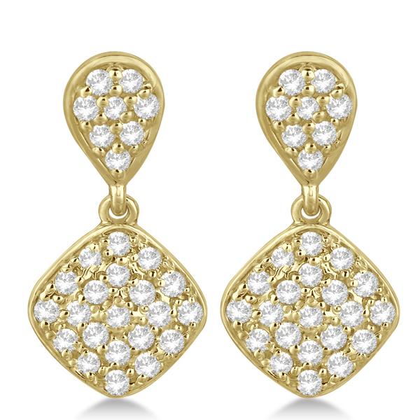 Pave Set Dangling Drop Square Diamond Earrings 14k Yellow Gold 1.04ct