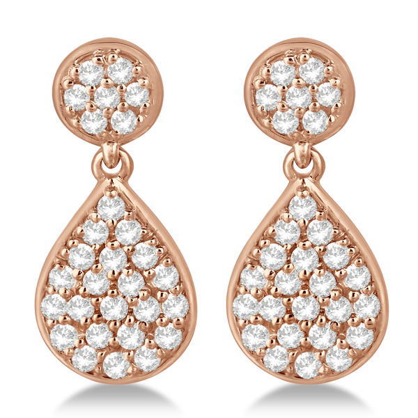 Pave Set Diamond Dangling Teardrop Earrings in 14k Rose Gold 1.15ct