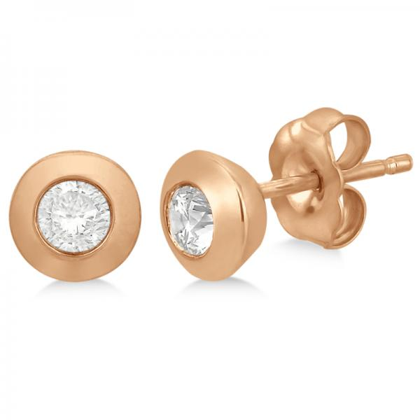 Diamond Solitaire Push-Back Stud Earrings in 14k Rose Gold (0.25ct)