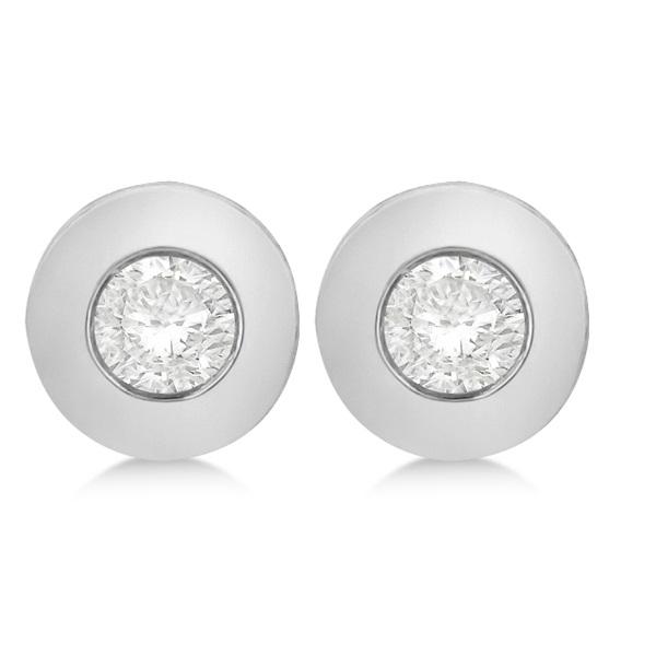 Bezel-Set Diamond Solitaire Stud Earrings in 14k White Gold (0.33ct)