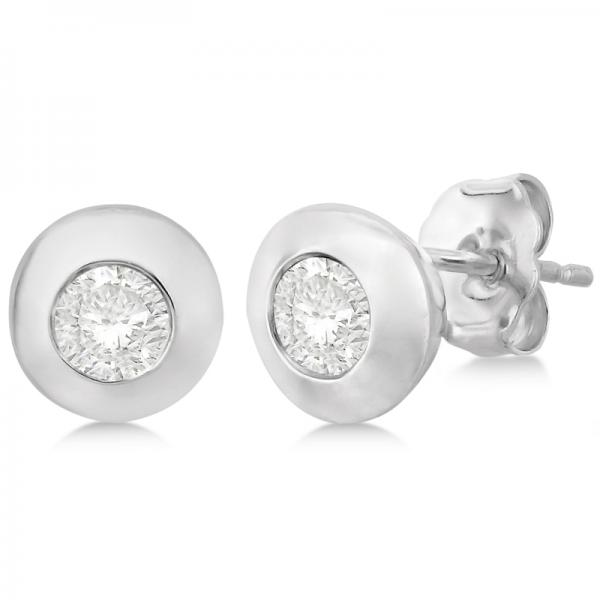 Diamond Solitaire Stud Earrings in 14k White Gold (0.50ct)