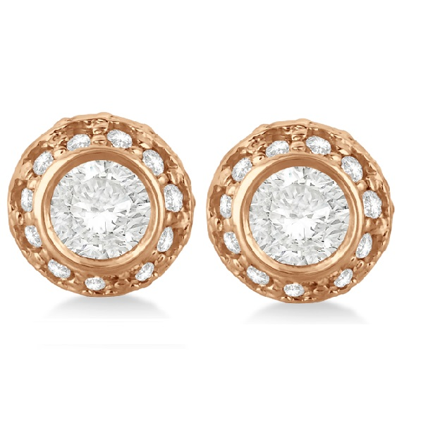 Vintage Double Halo Diamond Earrings 14k Rose Gold (1.00cts)