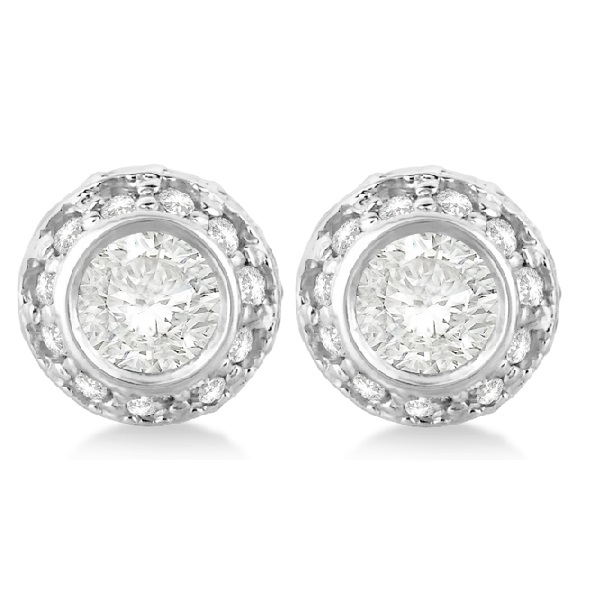Vintage Double Halo Diamond Earrings 14k White Gold (1.00cts)