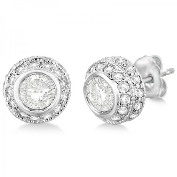 d225fb773 Vintage Double Halo Diamond Earrings 24k White Gold (2.00cts) - IR1532