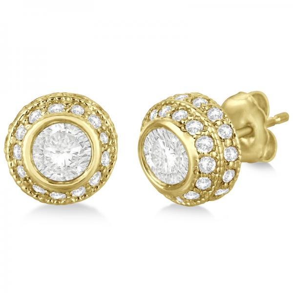Vintage Double Halo Diamond Earrings 24k Yellow Gold (2.00cts)