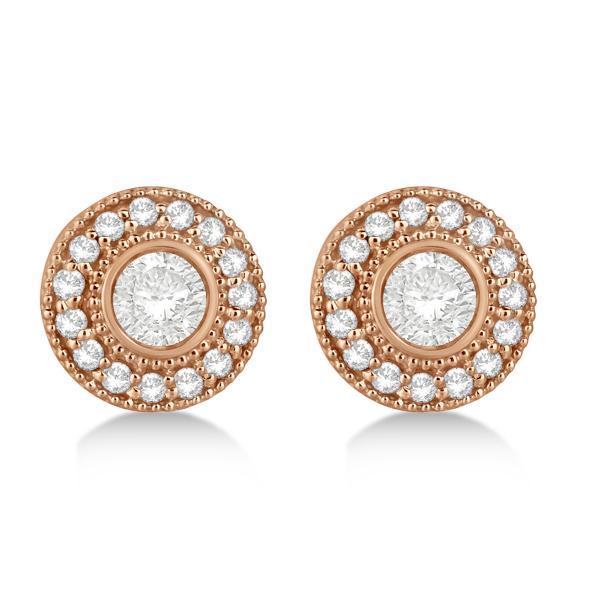 Vintage Diamond Halo Stud Earrings Bezel Set 14k Rose Gold (0.77ct)