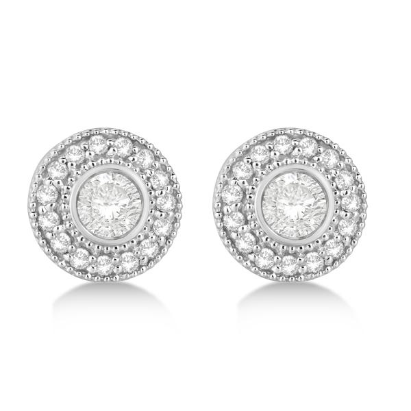 Vintage Diamond Halo Stud Earrings Bezel Set 14k White Gold (0.77ct)