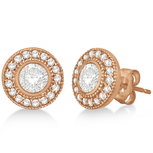 Vintage Style Diamond Halo Earrings Bezel Studs 14k Rose Gold (1.31ct)