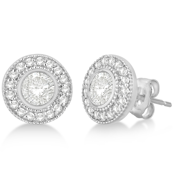 Vintage Style Diamond Halo Earrings Bezel Studs 14k White Gold 1.31ct