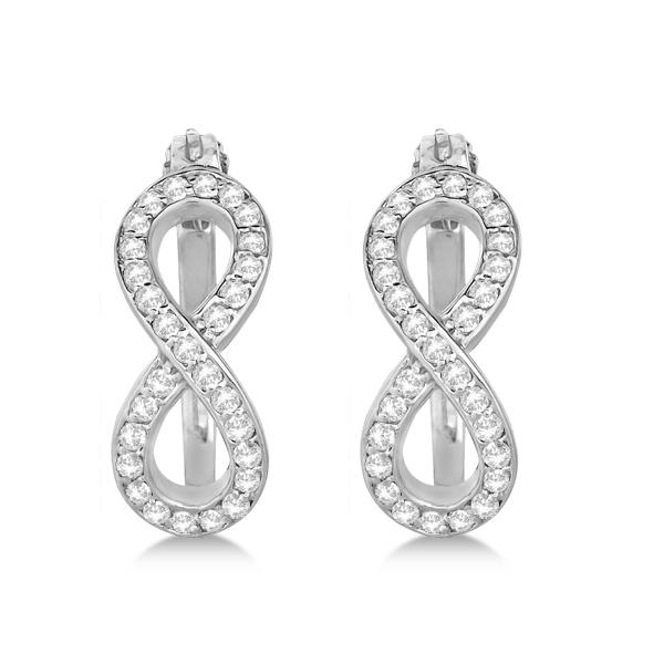 Diamond Infinity Style Hinged Hoop Earrings 14k White Gold 0.33ct