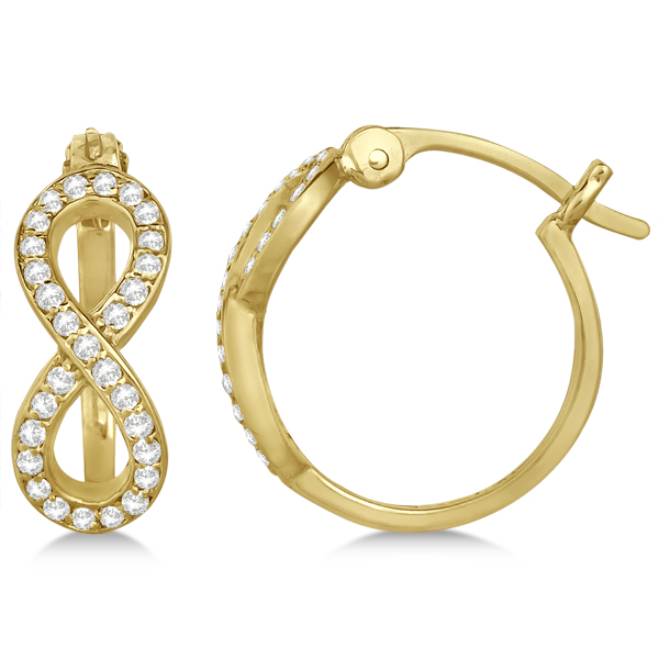 Diamond Infinity Style Hinged Hoop Earrings 14k Yellow Gold 0.33ct