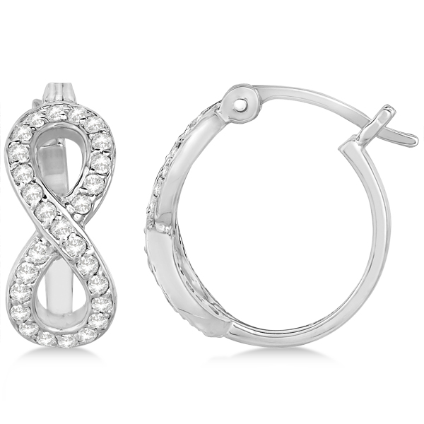 Infinity Shaped Hinged Hoop Diamond Earrings 14k White Gold 0.50ct