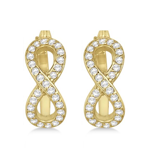 Infinity Shaped Hinged Hoop Diamond Earrings 14k Yellow Gold 0.50ct
