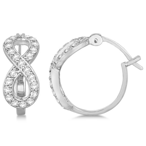 Infinity Shaped Hinged Hoop Diamond Earrings 14k White Gold 0.75ct