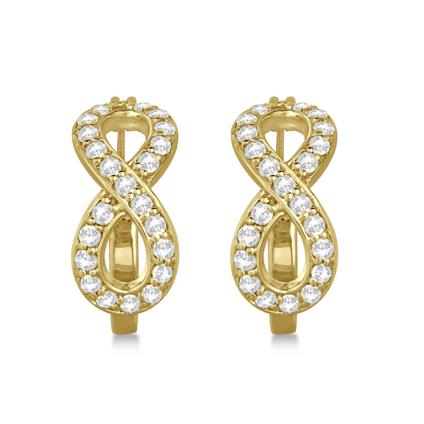 Infinity Shaped Hinged Hoop Diamond Earrings 14k Yellow Gold 0.75ct