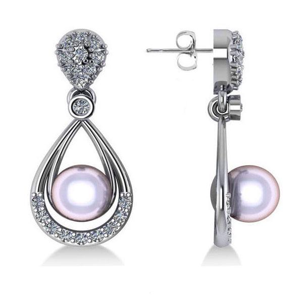 Pearl & Diamond Tear Drop Earrings 14k White Gold (0.39ct)