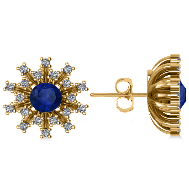 Blue Sapphire & Diamond Sunburst Earrings 14k Yellow Gold (1.60ct)