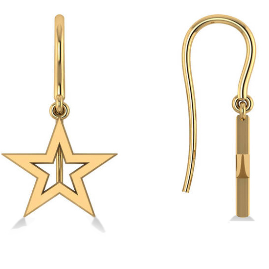 Dangle Star Earrings 14k Yellow Gold