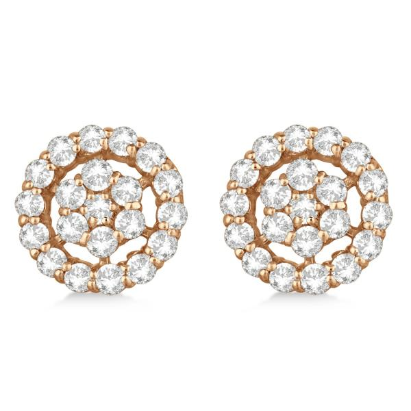 Diamond Cluster Earrings with Halo, Pave Set 14k Rose Gold 1.50ct