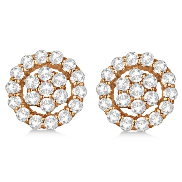 Diamond Cluster Earrings with Halo, Pave Set 14k Rose Gold 2.01ct