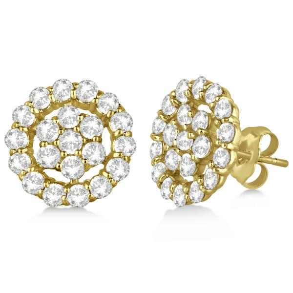 Diamond Cluster Earrings with Halo, Pave Set 14k Yellow Gold 2.01ct