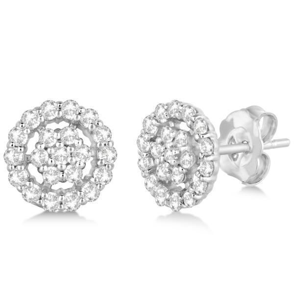 Diamond Cluster Earrings with Halo, Pave Set 14k White Gold 0.61ct
