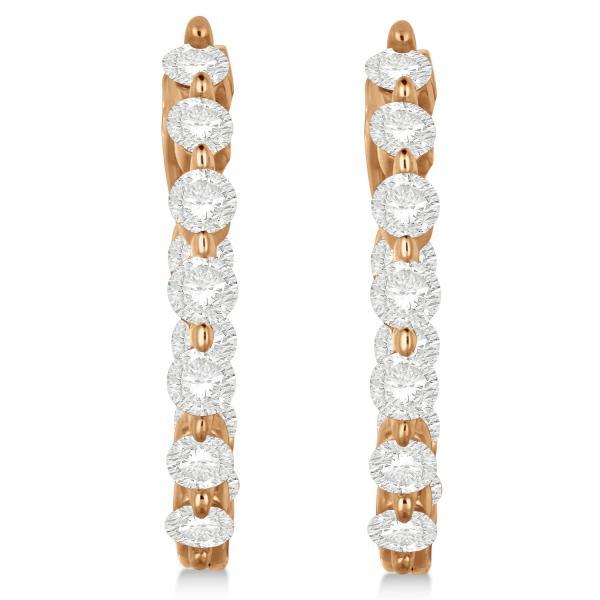 Inside Out Hoop Diamond Earrings Prong Set in 14k Rose Gold 1.34ct