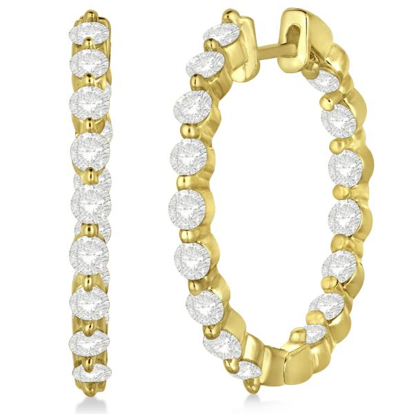 Inside Out Diamond Hoop Earrings Prong Set in 14k Yellow Gold 2.00ct
