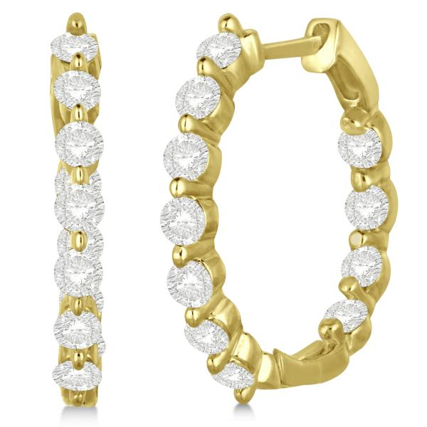 Inside Out Diamond Hoop Earrings Prong Set in 14k Yellow Gold 1.34ct