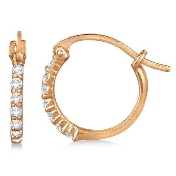 Genuine Diamond Petite Hoop Earrings Pave Set 14k Rose Gold 0.15ct