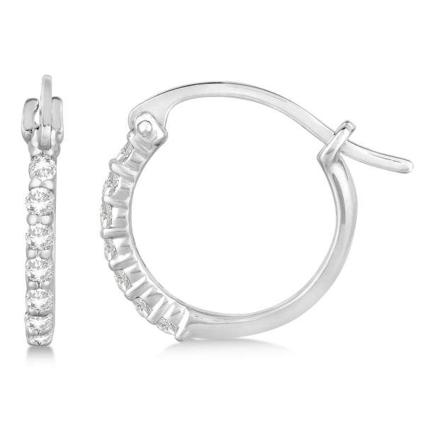 Genuine Diamond Petite Hoop Earrings Pave Set 14k White Gold 0.15ct