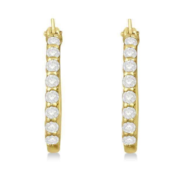 Genuine Diamond Hoop Earrings Pave Set in 14k Yellow Gold 0.50ct