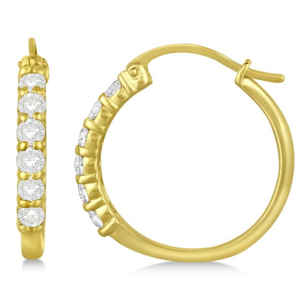 Genuine Diamond Hoop Earrings Pave Set in 14k Yellow Gold 0.75ct