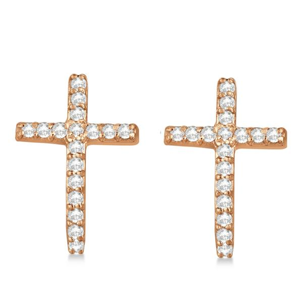 Pave Set Diamond Cross Post Earrings 14k Rose Gold 0.33 carats