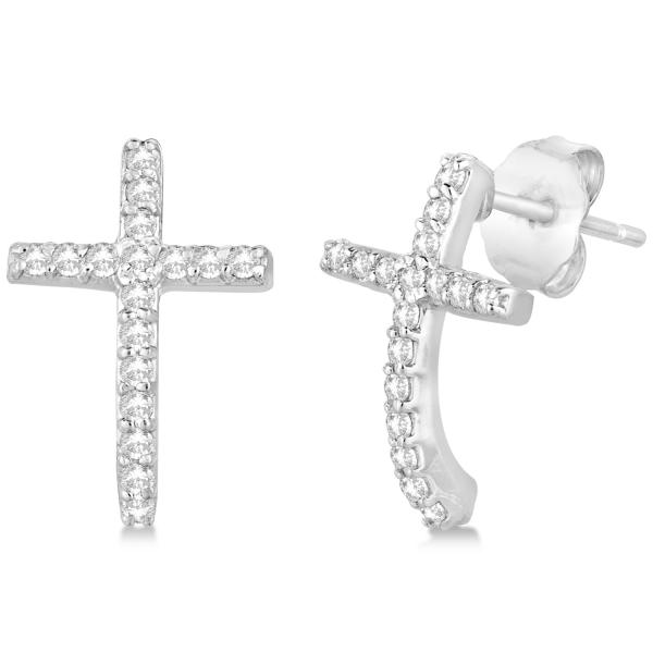 Pave Set Diamond Cross Post Earrings 14k White Gold 0.33 carats