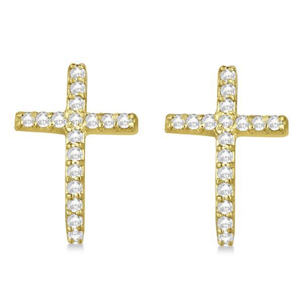 Pave Set Diamond Cross Post Earrings 14k Yellow Gold 0.33 carats
