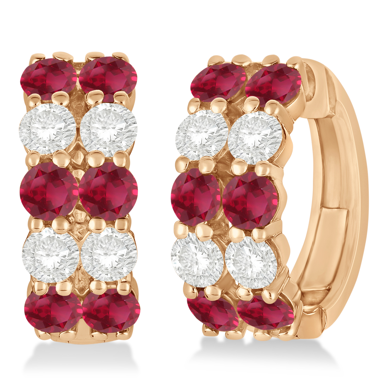 Double Row Ruby & Diamond Huggie Earrings 14k Rose Gold (2.60ct)