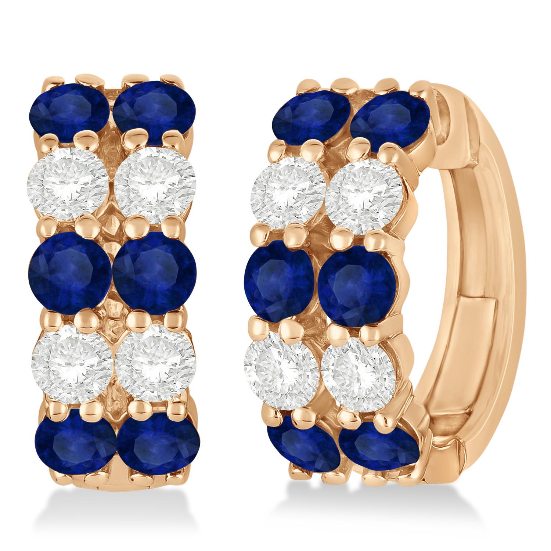 Double Row Sapphire & Diamond Huggie Earrings 14k Rose Gold (2.60ct)