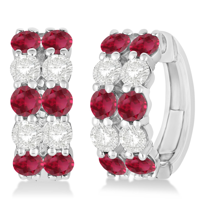 Double Row Ruby & Diamond Huggie Earrings 14k White Gold (2.60ct)