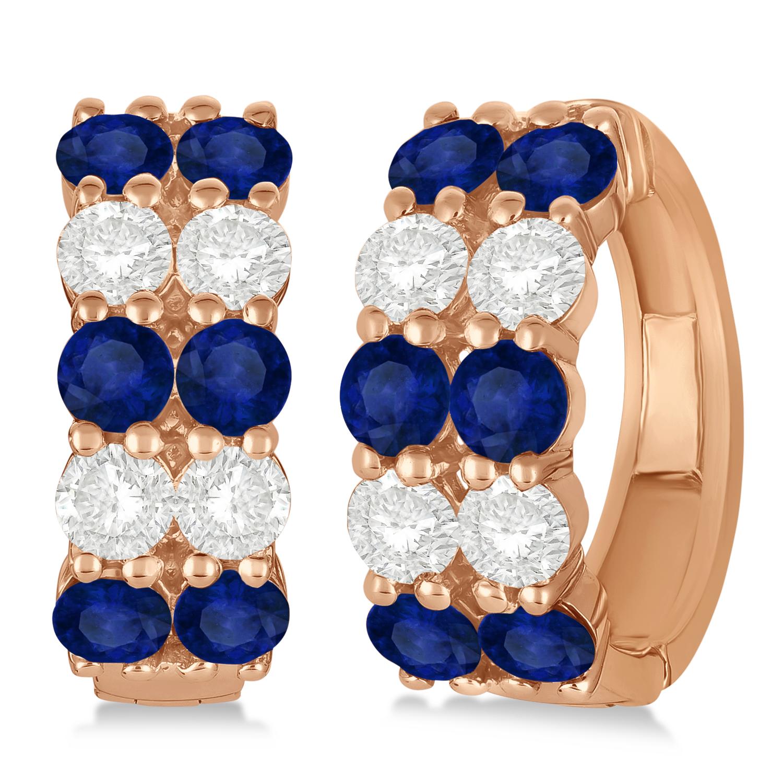 Double Row Sapphire & Diamond Hoop Earrings 14k Rose Gold (4.28ct)