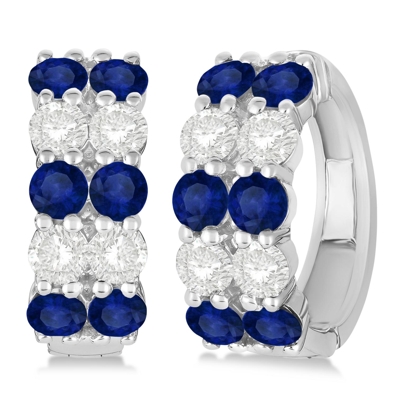 Double Row Sapphire & Diamond Hoop Earrings 14k White Gold (4.28ct)