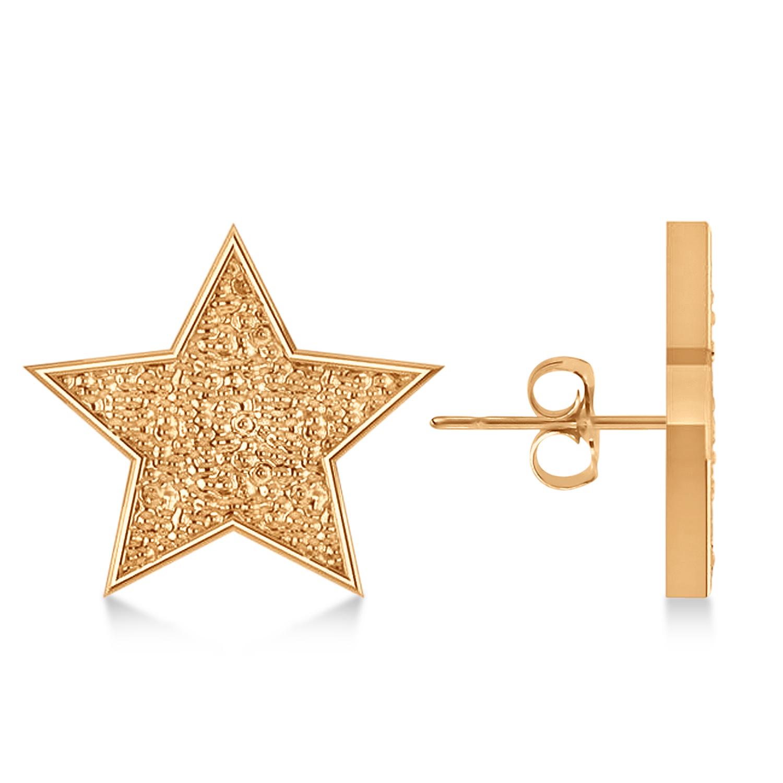 Galaxy Star Textured Diamond Illusion Stud Earrings 14k Rose Gold