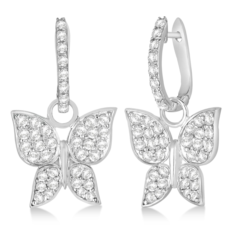 Diamond Butterfly Drop Earrings 14k White Gold (1.26ct)