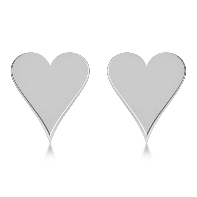 Geometric Heart-Shape Stud Earrings 14k White Gold