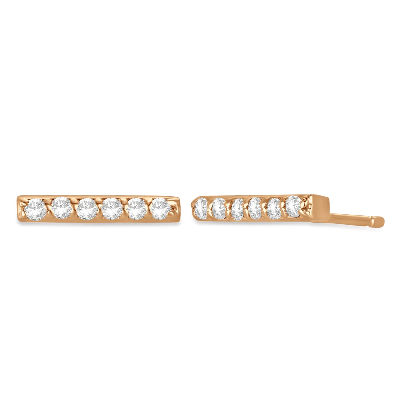 Diamond Bar Earrings 14k Rose Gold (0.12ct)
