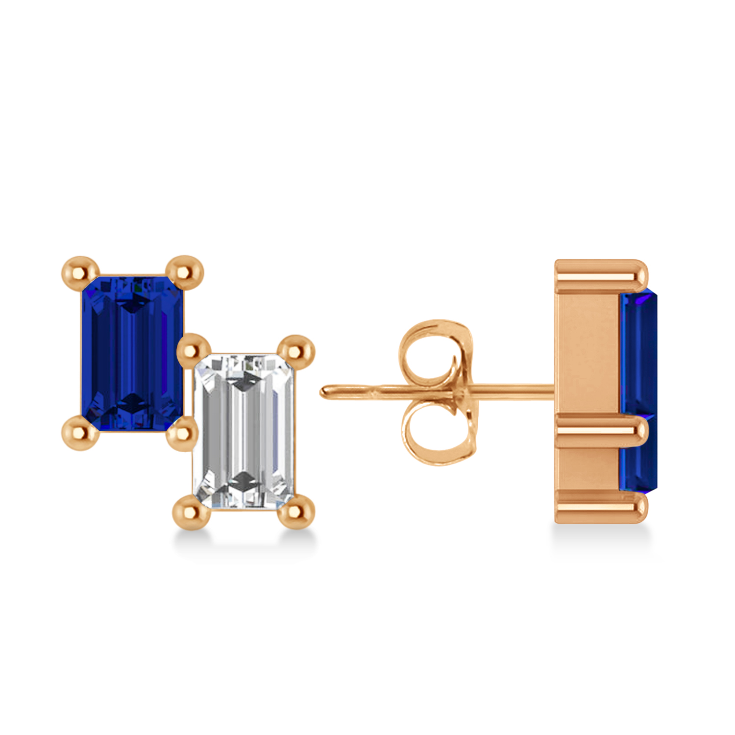 Bar Blue Sapphire & Diamond Baguette Earrings 14k Rose Gold (1.70 ctw)