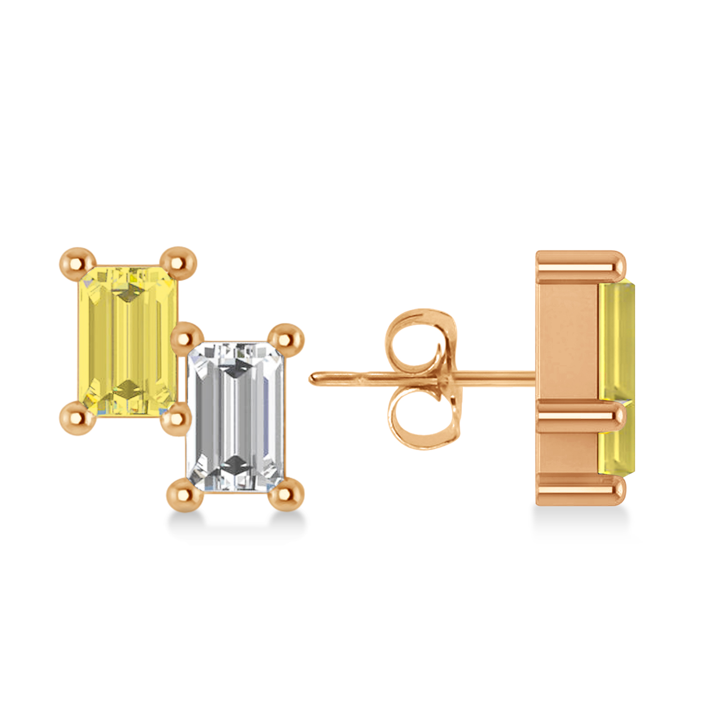 Bar Yellow Diamond & Diamond Baguette Earrings 14k Rose Gold (1.20 ctw)
