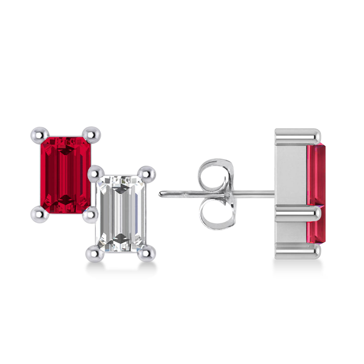 Bar Ruby & Diamond Baguette Earrings 14k White Gold (1.70 ctw)