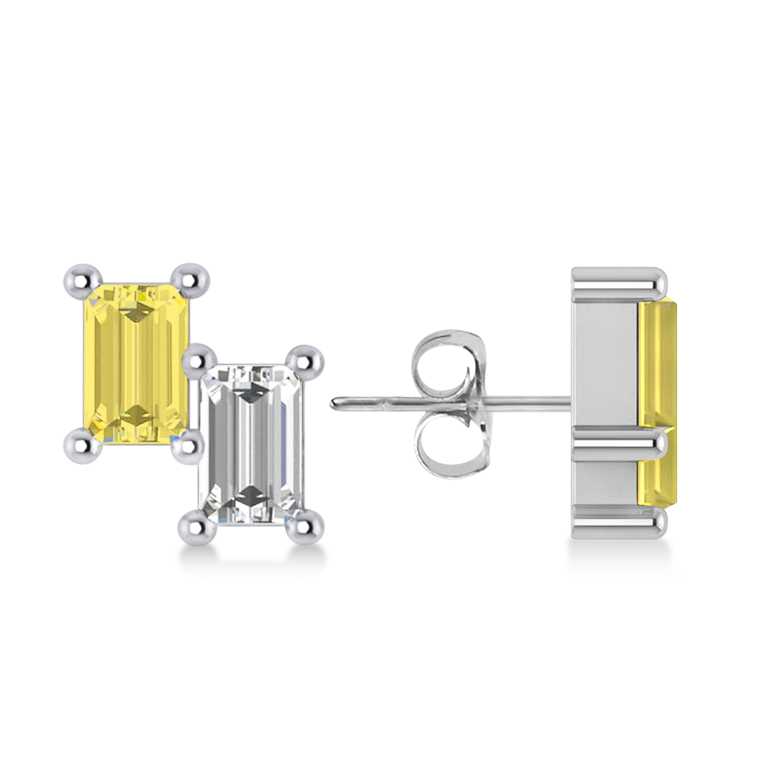 Bar Yellow Diamond & Diamond Baguette Earrings 14k White Gold (1.20 ctw)