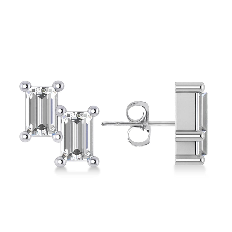 Bar Diamond Baguette Earrings 14k White Gold (1.20 ctw)